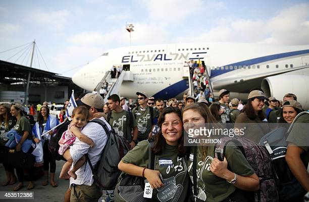 Jewish new immigrants from North America who are making Aliyah and who plan to join the Israeli army pose for a group picture upon their arrival at...