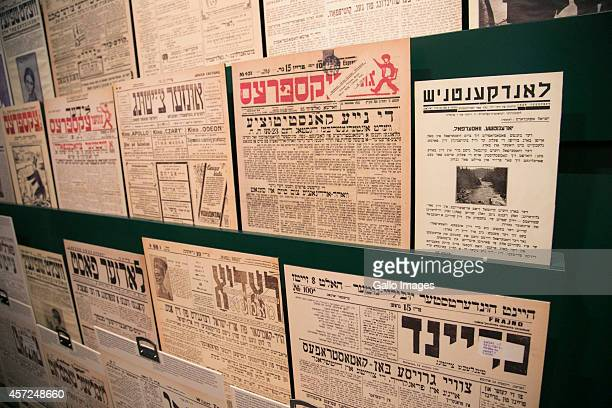 WARSAW POLAND OCTOBER 10 Jewish newspepers at the Core Exhibition of Polin on October 10 2014 at Polin Museum of History in Warsaw Poland The museum...