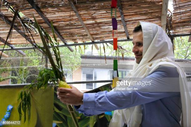 Jewish Orthodox Rabbi blessing on the Four Species on sukkot