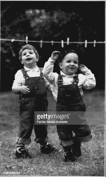 Jewish Passover Commences on Good Friday Bradley Fuchs 2½ and his brother Jason 18 mnths ready for Jewish Passover time April 16 1992