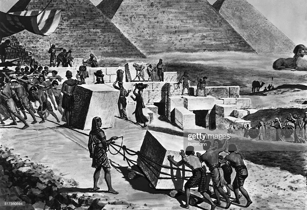 Illustration of Jewish Slaves Building Pyramids in Egypt : News Photo