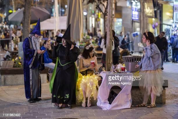 Jewish people celebrate Purim holiday at Mea Shearim neighborhood in Jerusalem on March 22 2019