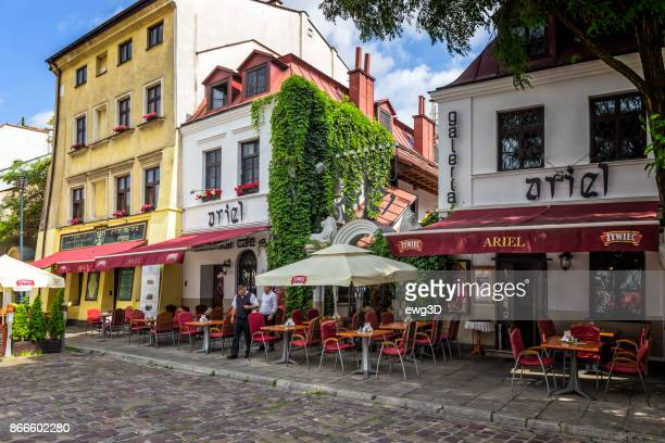 jewish restaurant and cafe pub in kazimierz district in krakow, poland - krakow stock pictures, royalty-free photos & images