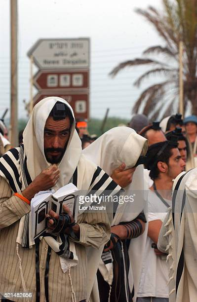 Jewish settlers pray next to the gate at the entrance of the Jewish settlements of Neve Dekalim in the Gush Katif bloc of Jewish settlements in the...