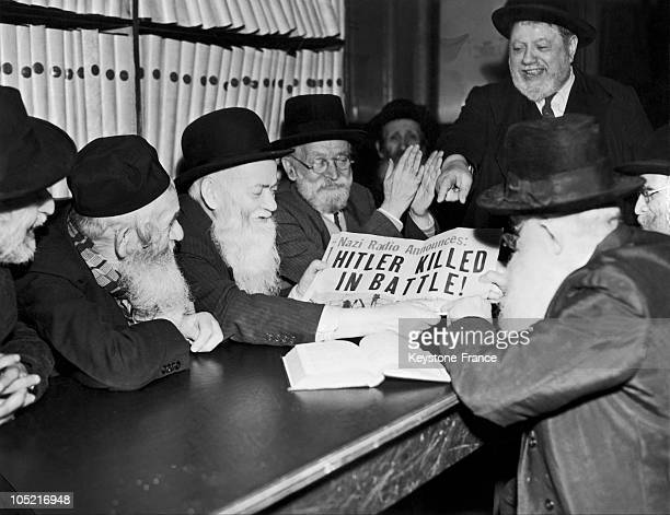 Jewish Students At The House Of The Wise Men Of Israel Little After May 8 Learn Of The Death Of Hitler Who Committed Suicide In His Bunker In Berlin...