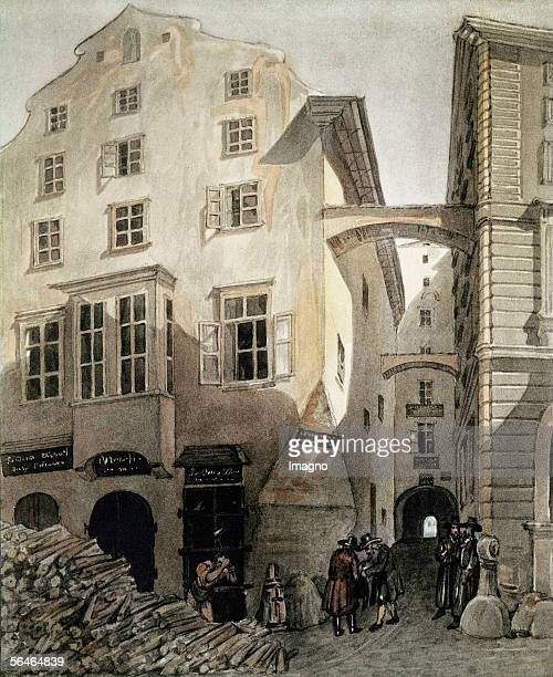 Jewish timber merchants selling their ware in downtown Vienna They wear typical Eastern European Jewish costumes Drawing Around 1850 [Juedische...