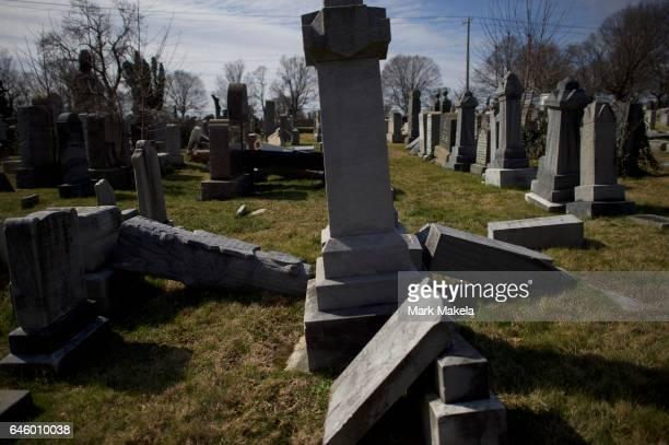 Jewish tombstones lay vandalized at Mount Carmel Cemetery February 27 2017 in Philadelphia Pennsylvania Police are investigating 75100 gravestones...