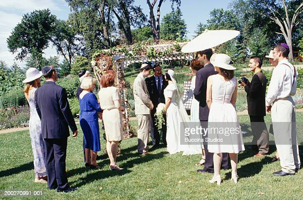 Jewish wedding ceremony in garden