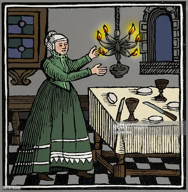 Jewish woman lighting the Sabbath lights Drawing from 1695 Amsterdam Passover Hagadah