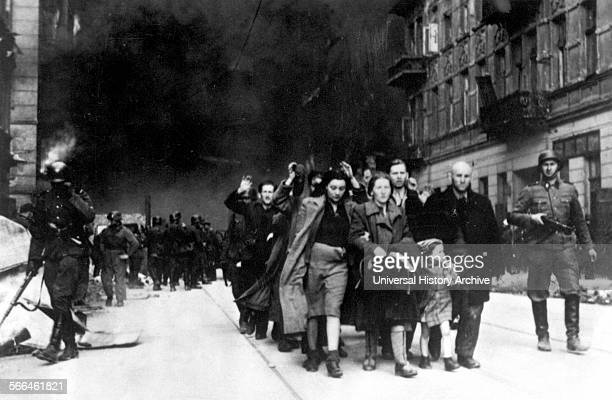 Jews being led for deportation in the Warsaw Ghetto during the Warsaw Ghetto Uprising in 1943