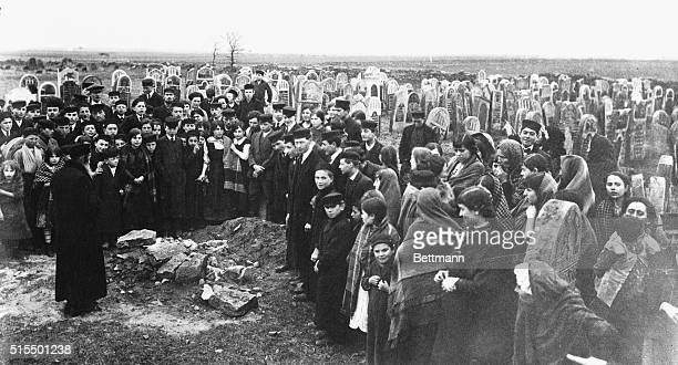 Jews of Petrograd hold a demonstration meeting in a cemetery protesting against the use of tombstones for building purposes