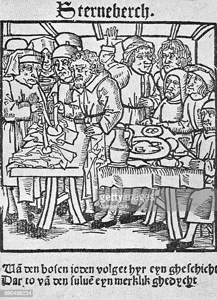 Jews of Sternberg represented as transfixing hosts Antisemitic woodcut from Lubeck 1492 Anti Jewish libels