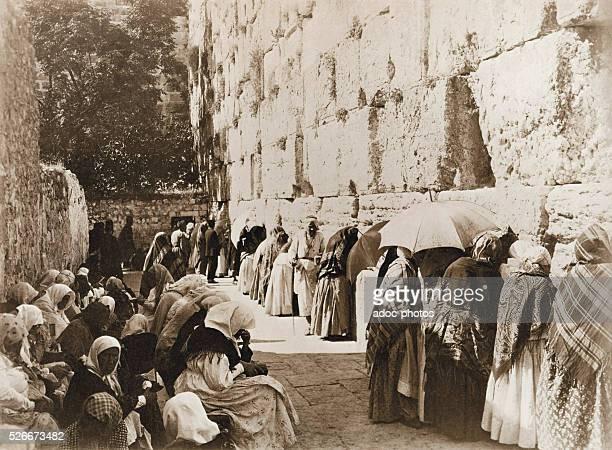 Jews praying at the Wailing wall in Jerusalem Ca 1890