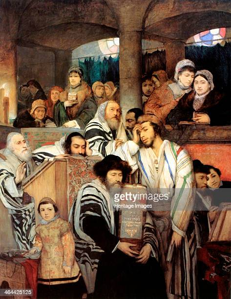 'Jews praying in the Synagogue on Yom Kippur' 1878 Gottlieb Maurycy Found in the collection of the Tel Aviv Museum of Art