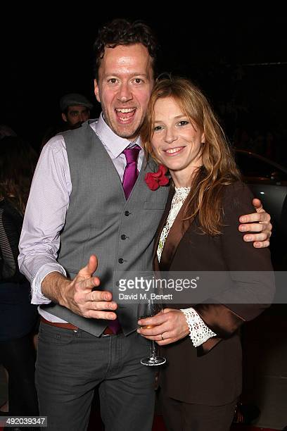 Jez Bond and Honeysuckle Weeks attend Park Theatre's first birthday gala hosted by Sir Ian McKellen at Park Theatre on May 18 2014 in London England