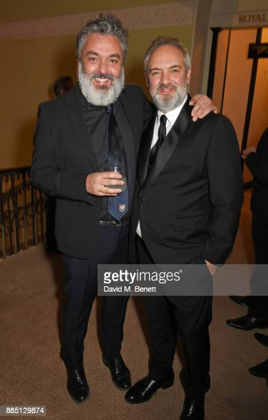 Jez Butterworth and Sam Mendes attend a drinks reception ahead of the London Evening Standard Theatre Awards 2017 at the Theatre Royal Drury Lane on...