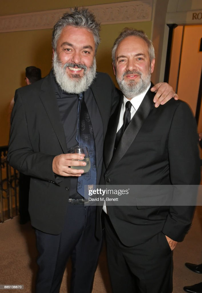Jez Butterworth (L) and Sam Mendes attend a drinks reception ahead of the London Evening Standard Theatre Awards 2017 at the Theatre Royal, Drury Lane, on December 3, 2017 in London, England.