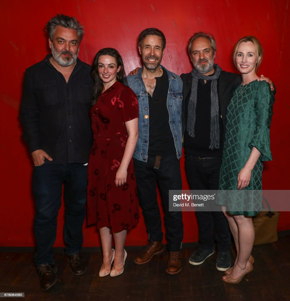 Jez Butterworth, Laura Donnelly, Paddy Considine, Sam Mendes and Genevieve O'Reilly attend the press night after party for 'The Ferryman' at Royal Court Theatre on May 3, 2017 in London, England.
