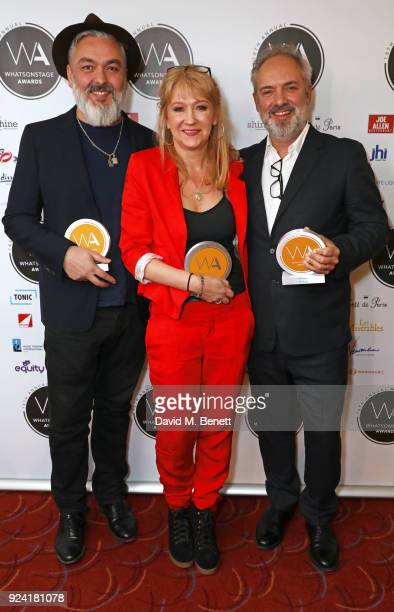Jez Butterworth winner of the Best New Play award for The Ferryman Sonia Friedman winner of the Equity Award for Services to Theatre and Sam Mendes...