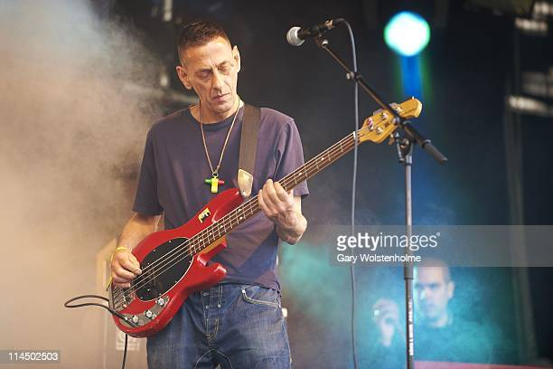 Jez Kerr of A Certain Ratio performs on stage during the third day of FOM Fest at Capesthorne Hall on May 22 2011 in Macclesfield United Kingdom