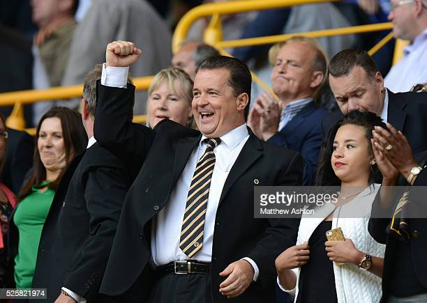 Jez Moxey the CEO of Wolverhampton Wanderers celebrates victory at full time