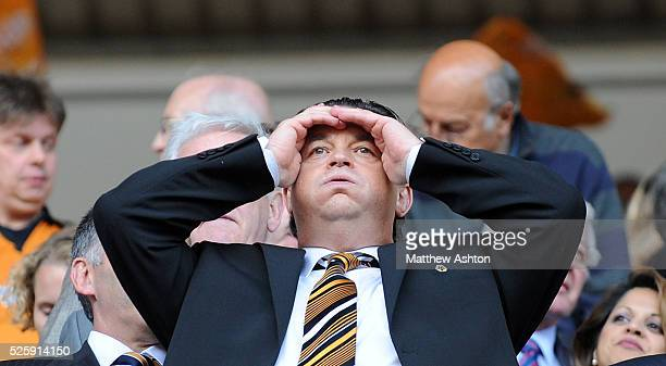 Jez Moxey the CEO of Wolverhampton Wanderers shows his relief Premier League survival at full time