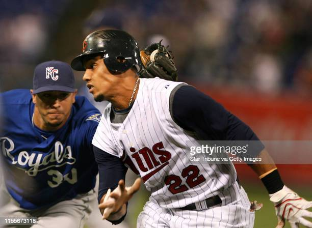 HOLT •jgholt@startribunecom Kansas City Royals @ Minnesota Twins 9/11/2008] Twins centerfielder Carlos Gomez is tagged out on a run down between...
