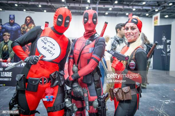 Jgroup fo female Deadpool cosplayers during MCM London Comic Con 2017 held at the ExCel on October 28 2017 in London England