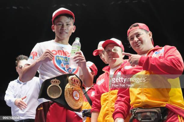Jhack Tepora of the Phillipines poses with his belt after winning the WBA World Title on July 15 2018 in Kuala Lumpur Malaysia