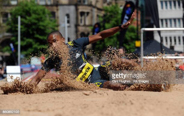 Jhamal Bowen competes in the mens long jump during the BT Great City Games in Manchester