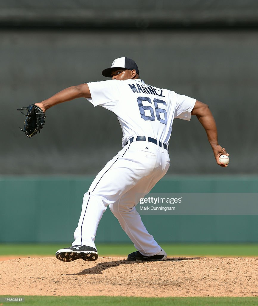 Jhan Marinez #66 of the Detroit Tigers pitches during the spring training game against the Florida Southern College Moccasins at Joker Marchant Stadium on February 25, 2014 in Lakeland, Florida. The Tigers defeated the Moccasins 12-0.
