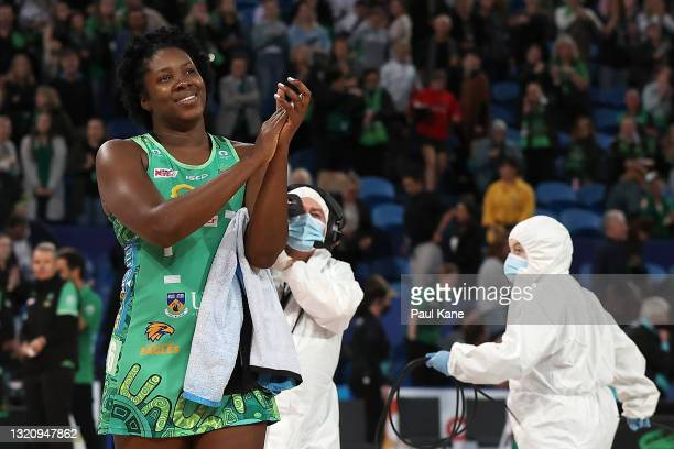 Jhaniele Fowler of the Fever acknowledges spectators after winning the round five Super Netball match between the West Coast Fever and the Greater...