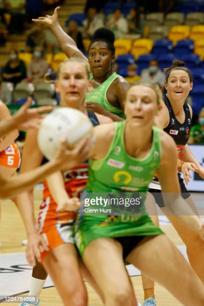 Jhaniele Fowler of the Fever calls for the ball during the Preliminary Final Super Netball match between the GWS Giants and West Coast Fever at...