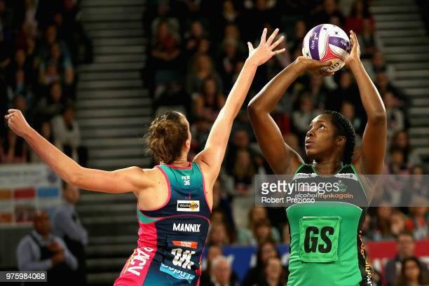 Jhaniele Fowler of the Fever has a shot for goal during the round seven Super Netball match between the Vixens and the Fever at Hisense Arena on June...