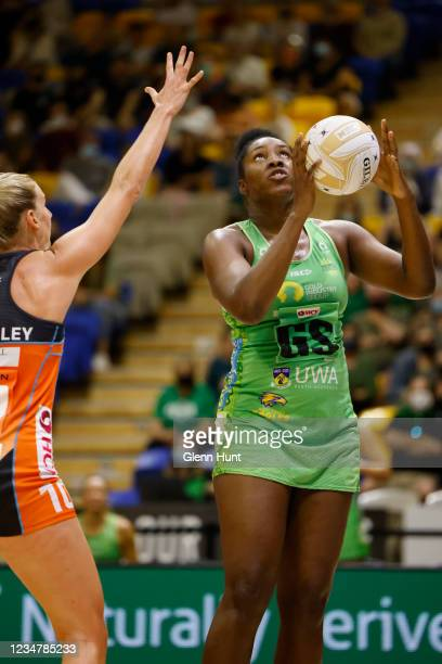 Jhaniele Fowler of the Fever shoots the ball during the Preliminary Final Super Netball match between the GWS Giants and West Coast Fever at...