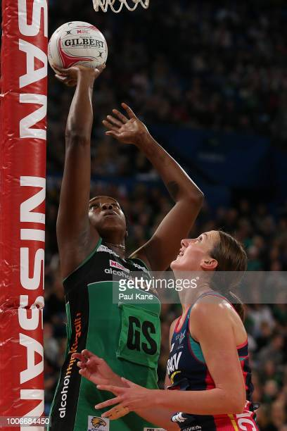 Jhaniele Fowler of the Fever shoots the ball during the round 13 Super Netball match between the Fever and the Vixens at Perth Arena on July 28 2018...