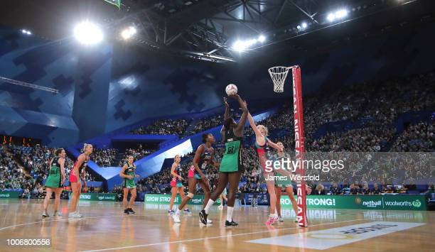 Jhaniele Fowler of the West Coast Fever takes a shot during the round 13 Super Netball match between the Fever and the Vixens at Perth Arena on July...