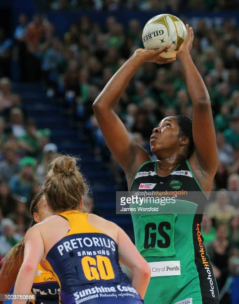 Jhaniele Fowler of the West Coast Fever takes a shot in the final quarter during the Super Netball Grand Final match between the the Fever and the...