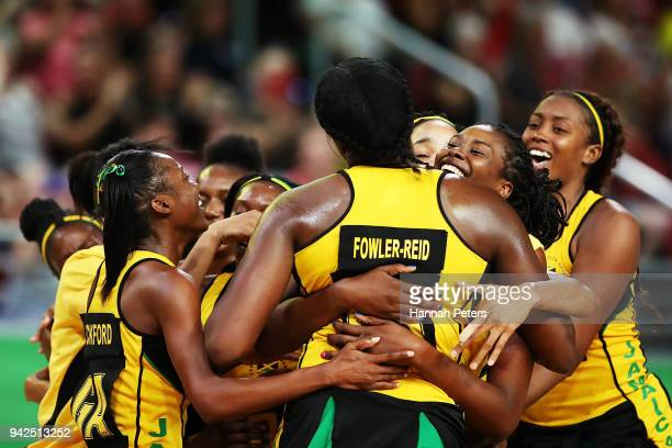 Jhaniele FowlerReid of Jamaica celebrates after shooting the winning goal during the Netball Preliminary Round Pool B match between South Africa and...