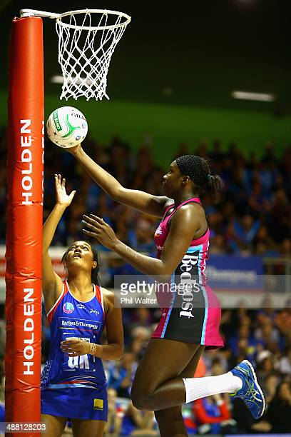Jhaniele Fowler-Reid of the Steel and Temalisi Fakahokotau of the Mystics compete for posession during the round 10 ANZ Championship match between...