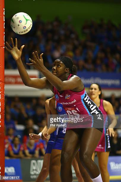 Jhaniele Fowler-Reid of the Steel takes a pass during the round 10 ANZ Championship match between the Mystics and the Steel at The Trusts Stadium on...