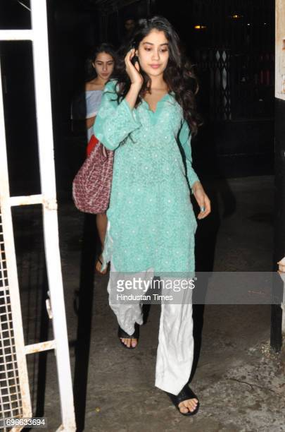Jhanvi Kapoor and Sara Ali Khan spotted at Juhu on June 14 2017 in Mumbai India