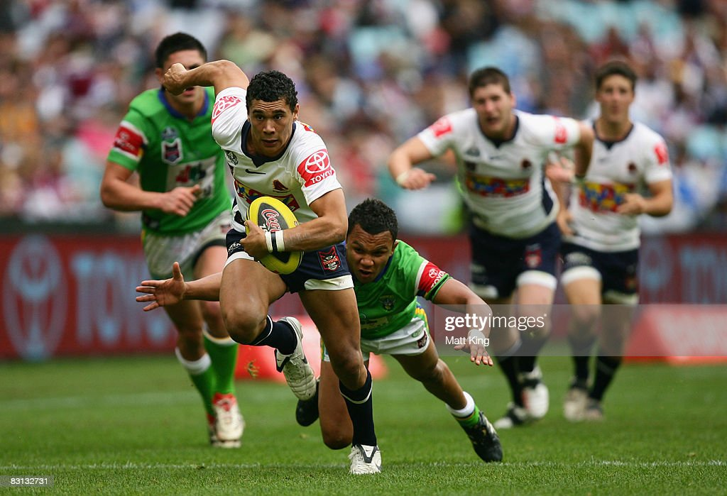 Jharal Yow Yeh of the Broncos makes a break during the Under 20's Toyota Cup Final match between the Canberra Raiders and the Brisbane Broncos at ANZ Stadium on October 5, 2008 in Sydney, Australia.