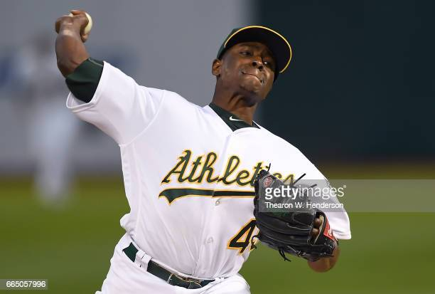 Jharel Cotton of the Oakland Athletics pitches against the Los Angeles Angels of Anaheim in the top of the second inning at the OaklandAlameda County...
