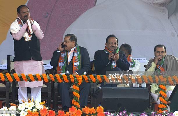 Jharkhand chief minister Raghubar Das Union Minister of State in the PMO Jitendra Singh Harsh Vardhan and Delhi MP Maheish Girri during the...