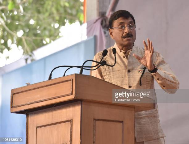 Jharkhand Khadi Board chairman Sanjay Seth speaks during the inauguration programme of the 38th India International Trade Fair 2018 at Pragati Maidan...