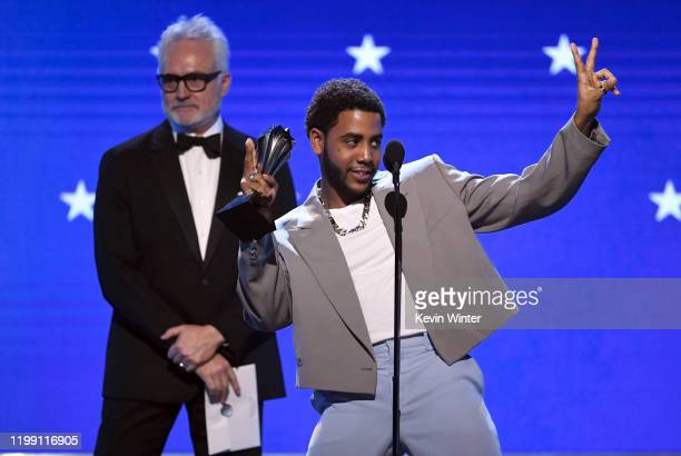 Jharrel Jerome accepts the Best Actor in a Movie/Limited Series award for 'When They See Us' onstage during the 25th Annual Critics' Choice Awards at...