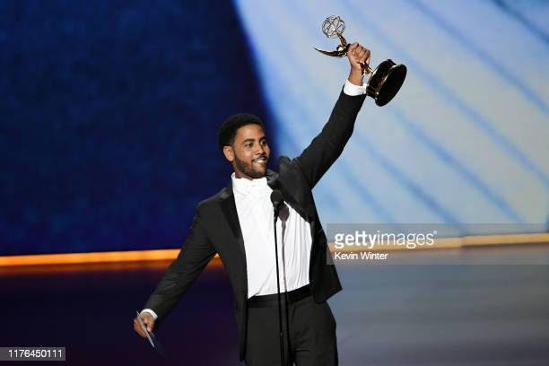 Jharrel Jerome accepts the Outstanding Lead Actor in a Limited Series or Movie award for 'When They See Us' onstage during the 71st Emmy Awards at...