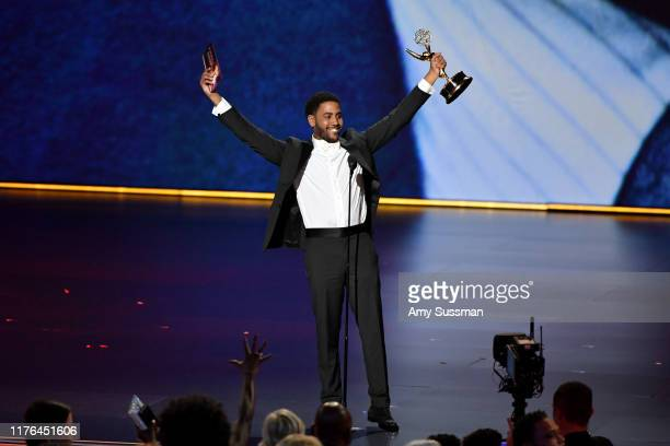 "Jharrel Jerome accepts the Outstanding Lead Actor, Limited Series or TV Movie award for ""When They See Us"" onstage during the 71st Emmy Awards at..."