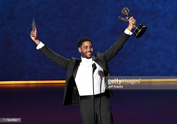 "Jharrel Jerome accepts the Outstanding Lead Actor Limited Series or TV Movie award for ""When They See Us"" onstage during the 71st Emmy Awards at..."